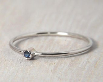Simple Sapphire Ring in 14k White Gold - Also Available in: White Sapphire, Pink Tourmaline, Aquamarine, Peridot, and Garnet