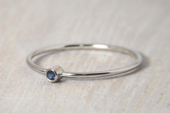 simple sapphire ring in 14k white gold also available in