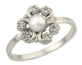 Pearl Ring, Pearl Flower Ring, Unique Engagement Ring, June Birthstone, Pearl Jewelry, Flower Diamond Ring, Pearl Birthstone Ring, FOR HER