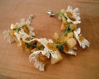 oya bracelet, bracelet with needle lace flowers and  beads, mustard yellow flower bracelet