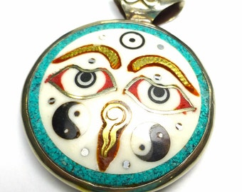 Reversible Enamel Resin Turquoise Bali Sterling Brass Tibetan Happy Face Pendant Bead Ready for Stringing into your own Creation Hand Made