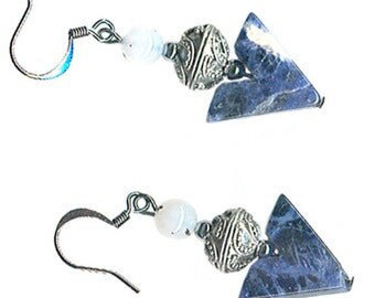 sodalite Vee earrings navy denim blue granulated pewter
