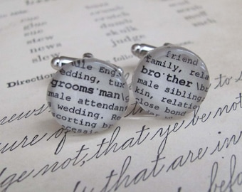 Groomsman Brother Cuff Links Wedding Party Gifts Vintage Wedding by Kristin Victoria Designs