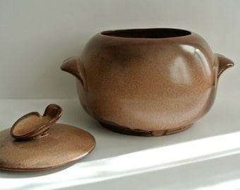 Frankoma Covered Bowl-Lug Handles-Desert Gold-Early Gold-Warm Cocoa Color