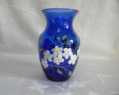 Hand painted vase-cobolt blue vase-Flower vase