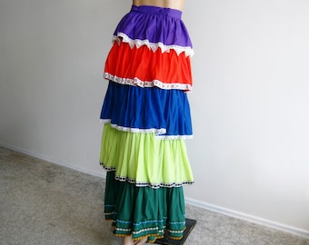 Vintage 60s Vanity Fair Ruffled Nylon Tiered Multi Colored Lounge Skirt Size Small
