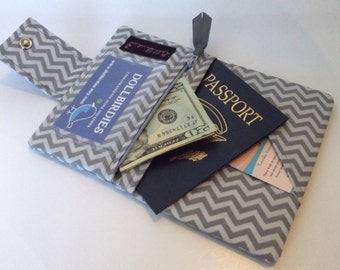 Dollbirdies Small Passport Wallet with ID Window and Zipper Pouch