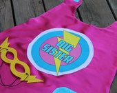 Ready to Ship - Big Sister SUPERHERO Cape Set - Includes Free MASK - Big sister gift - sibling gift - Fast delivery