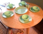 Assorted pieces of vintage Jadeite. Plates and Bowls. Shakers and Server Plate see other listing