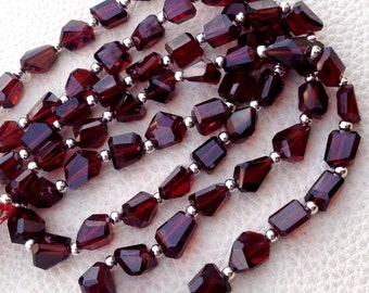 WOW, Full 15 Inch Long Strand, Super Shiny MOZAMBIQUE GARNET Step Cut Faceted Nuggets, 8-9mm Long size,Gorgeous