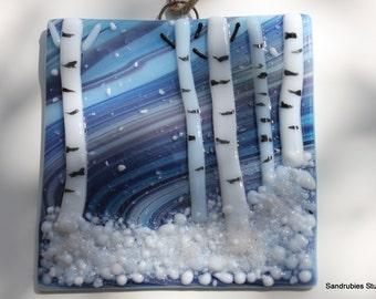 Aspen in Winter Wall Hanging in Glass