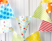 Nautical Baby Shower Banner, Bunting Fabric Pennant Flags, Fish Anchor,  Birthday Party Garland, Boy Nursery Red, Yellow, Orange, Lime, Blue