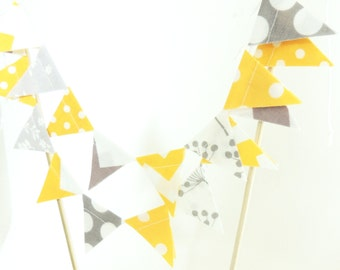 Cake Topper Banner, Party Cake Bunting, Fabric Pennant Flags, Wedding Topper, Birthday Cake, Baby Shower, Chevron, Polka Dot Yellow, Grey