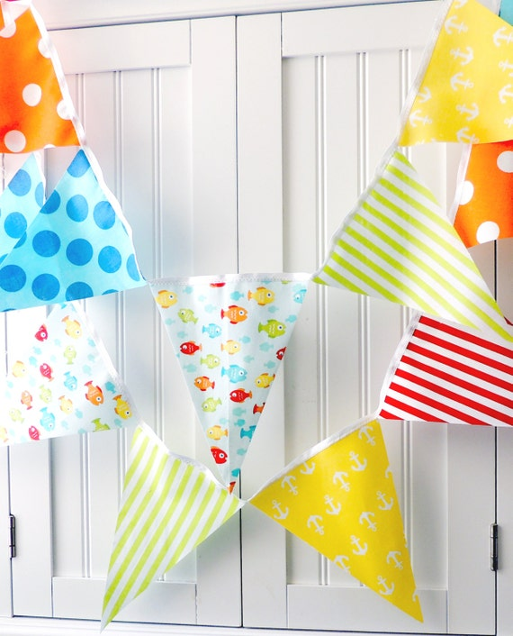 Nautical baby shower banner bunting fabric pennant flags for Nautical nursery fabric