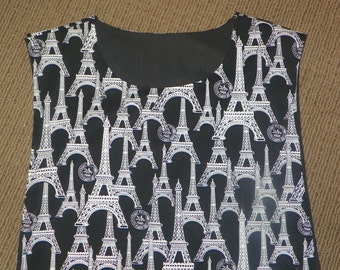 Kitchen Cobbler Lined Apron Smock Eiffel Tower Black and White