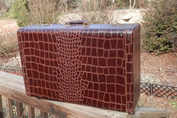 Vintage Antosek Alligator Luggage 1940's style Brown