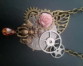 STEAMPUNK Necklace - Altered Art - Garden of Pixies - Watch Face - Gears