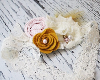 Mustard Pie- cream, pink and mustard chiffon, pearl and felt headband with feather