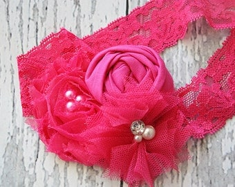 Haute Hot Pink- Simple Solids Collection rosette and chiffon bloom headband