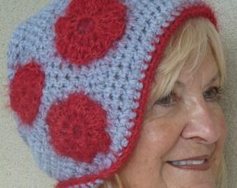 Bohemian Clothing Crochet Hat Red Gray