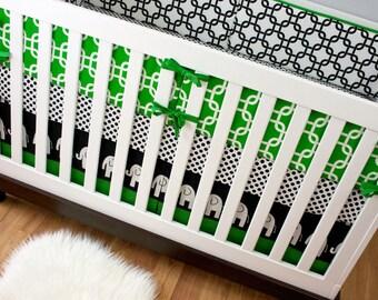 Baby Bedding, Cribset, Custom Crib Bedding, Black and White Kelly Green Dots Chain Link Elephants