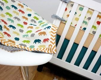 Bear Organic Cribset, Crib Bedding, Baby Bedding (Outdoor, Bear, Chevron, Dots, Organic, Birch)