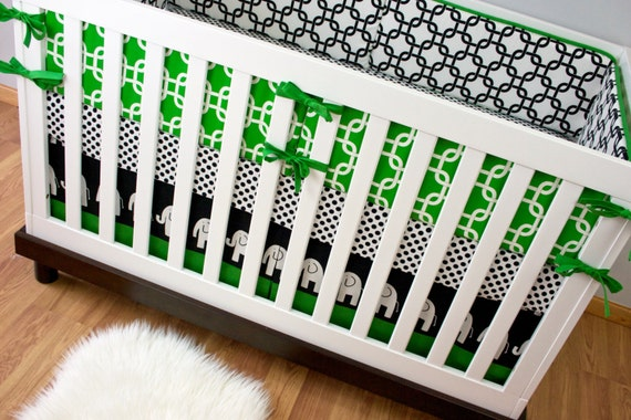 Bedding cribset custom crib bedding black and white kelly green