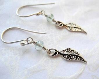 Sterling Silver Leaf Dangle Earrings Green Amethyst Gemstone Autumn Leaves Fall Jewelry
