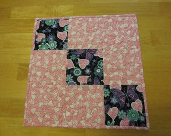 Valentine Hearts Quilted Table Topper/ Candle Mat/ Mug Rug/ Placemat