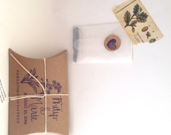Forget Me Not Seeds. Unique Wedding Favors with Custom Stamp. Eco-Friendly Wedding Gift. Set of 30