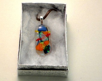 Clear Abstract Fused Glass Pendant II