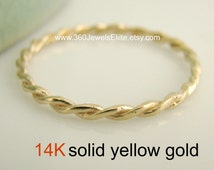 Thin wedding ring, intertwined love ring, gold wedding ring, gold stackable ring, gold stacking ring, 14K yellow gold ring