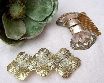 Vintage hair accessories 2 gold tone Hollywood Regency hair comb decorative comb hair barrette hair slide hair jewelry hair ornament 1980s