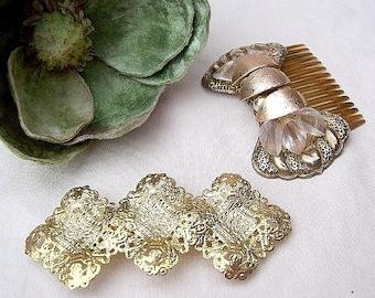 Vintage hair accessories 2 gold tone Hollywood Regency hair comb decorative comb hair barrette hair slide hair jewelry hair ornament 1980s