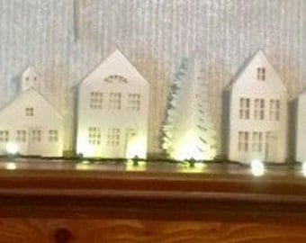 DIY village ledge series paper houses and trees set of seven you choose