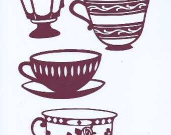 Tea cup silhouettes set of four