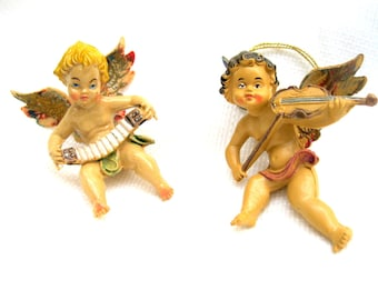 set of 2 vintage ornaments.italian.holiday decor.christmas.angels.cherubs.blonde.brunette.tessiemay