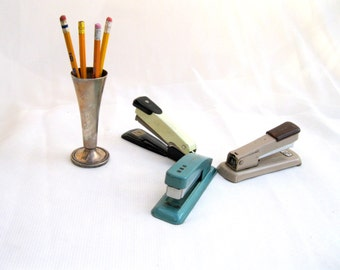 vintage staplers.three.midcentury.desk.office.turquoise.chocolate.celery.tessiemay