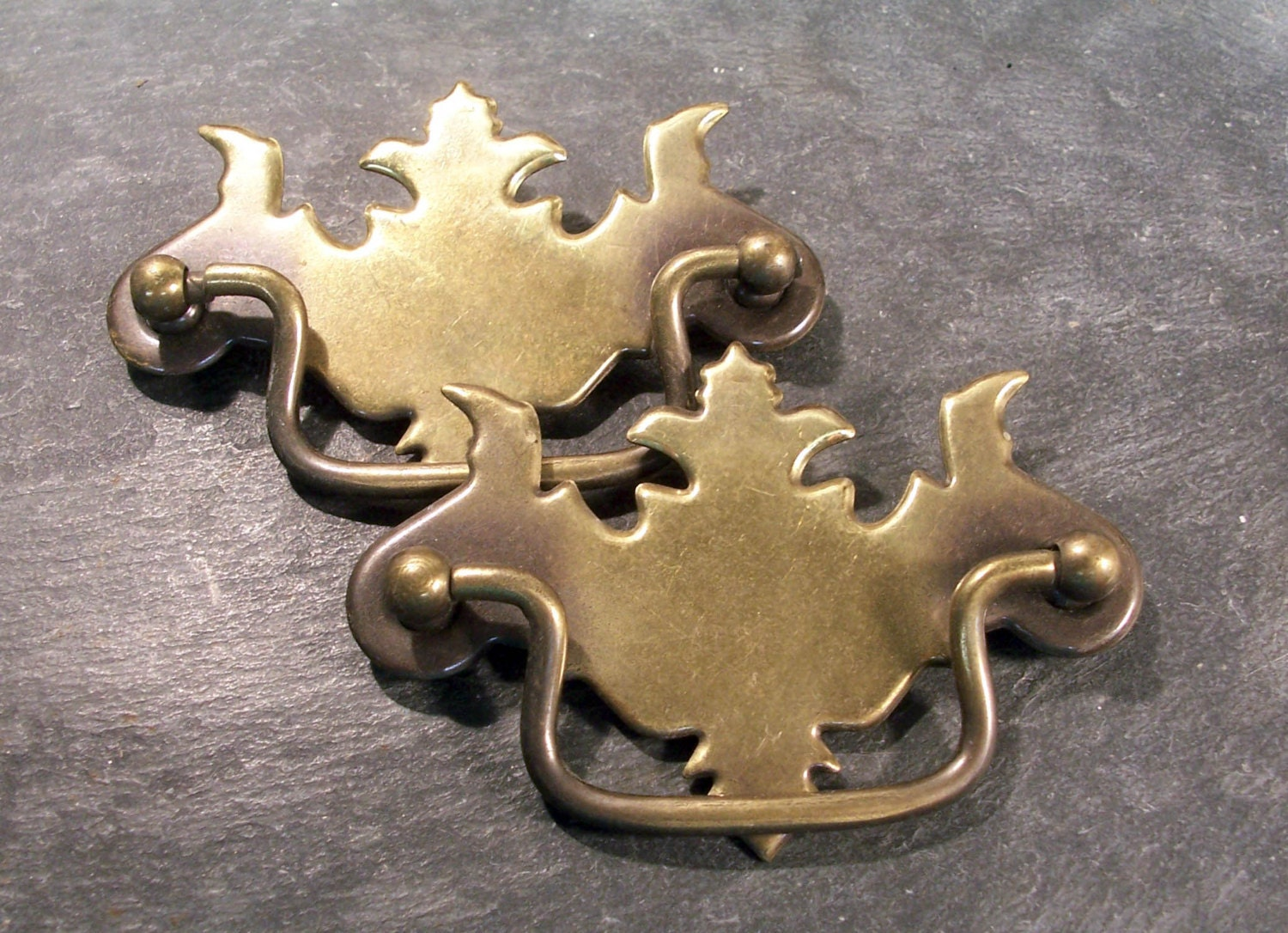 Vintage Ornate Chippendale Brass Drawer Pulls Antique By