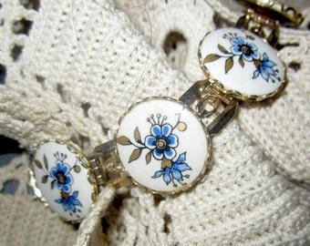 1940s Hand Painted Porcelain Flower Link Bracelet
