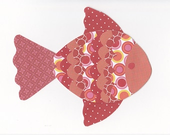 8x10 Red Fish Paper Collage Print