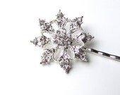 Winter Wedding Snowflake Wedding Hair Pin, Rhinestones Silver Tone, Crystal Christmas Bobby Pin, Frozen Frost