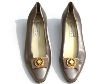 Vintage Calico Dark Pewter/Gold Metallic Leather/Fabric Jeweled Classic Dress Shoes Sz 7