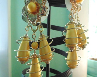 HUGE springy coil gold bead CHANDELIER EARRINGS 4 inch dangle clips 1980s