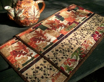 Fall Autumn Placemats Handmade Quilted Reversible Set of 2
