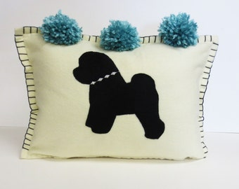 Felt Bichon Pillow - Cushion in Ivory with Bichon Silhouette Applique and Turquoise Pom Pom tassels