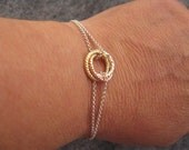 Silver Circle Bracelet, Three Color Infinity Circle Bracelet, Sterling Silver Karma Bracelet,  Eternity Circle, Bridal jewelry