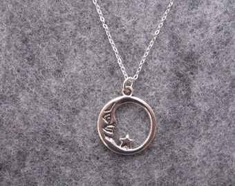 Moon Necklace Silver Charm Childs Gift Dainty Jewelry Moon and Star Necklace