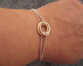 Pretty Silver Bracelet, Silver Circle Bracelet, Rose Gold Infinity Circle Bracelet, Sterling Silver Karma Bracelet,  Eternity Circle jewelry