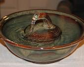 "Cat Fountain, Handmade, Foodsafe -  ""Mahogany Jet Zen"" - 11.25 Inch Diameter"